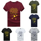 Fashion Mens Cotton T-Shirts Short Sleeve Crew Neck Tops Slim Casual Tees Summer