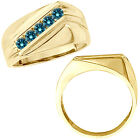 0.5 Carat Blue Diamond Men's Channel Set Anniversary Band Ring 14K Yellow Gold