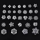 50pcs Tibetan Silver Metal Loose Spacer Beads Caps 6mm - 16mm Flower Patterns