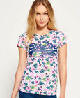 New Womens Superdry Vintage Logo Tropical T-Shirt Ice Marl