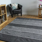 Grey Striped Hand Woven Modern Rug Soft Cotton Flat Weave Reversible Lounge Rugs