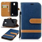 Luxury Jeans PU Leather Wallet Flip Stand Case Cover For LG Mobile Phones 13