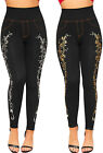 Womens Floral Print Pearl Accent Embroidered Jeans Look Jeggings Ladies Leggings