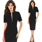 Womens Stand Collar Zipper Front Colorblock Slim Work Office Party Sheath Dress