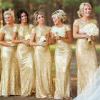 Womens Backless Sequin Dress Ladies Maxi Evening Bridesmaid Wedding Dress UK8-18