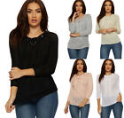 Womens Tie V Neck Jumper Top Ladies Crochet Mesh Cable Long Sleeve Plain Stretch