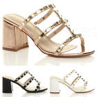 WOMENS LADIES MID HIGH BLOCK FLARED HEEL PUNK ROCK STUDDED STRAPPY SANDALS SIZE