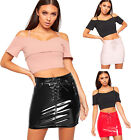 Womens Vinyl Lace Up Tied Front Mini Skirt New Ladies High Shine Eyelet Pocket