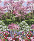 BOTANIC GARDEN Scenic PANEL or YD Flowers Spring Tulips Pink Trees Nature Fabric
