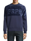 PRPS Goods & Co. Men's Blue Content Logo Crew-Neck Pullover Sweatshirt