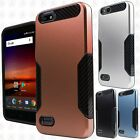For ZTE Blade Vantage Slim HYBRID Carbon Trim Hard Protector Cover +Screen Guard