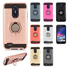 For LG Tribute Dynasty Brushed Metal HYBRID Rubber Case Phone Cover + Ring Stand