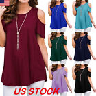 USA Womens Summer Cold Shoulder Tee Top Short Sleeve Blouse