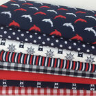 Dolphins nautical blue white & red  8 piece fabric bundle & polycotton fabrics