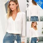 Summer Sexy Women Office Lady Long Sleeve Hollow Lace Blouse Shirt