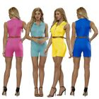 Womens Sexy Sleevelesssuit Bodycon Short Pant Club Party Playsuit & Belt US