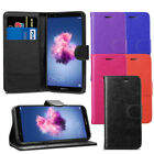 For Huawei P Smart - Premium Leather Wallet Flip Case Cover + Screen Protector