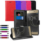 For Various Sony Xperia Leather Flip Wallet Case Magnetic Cover + Stylus + Film