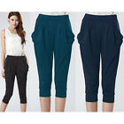 New Womens High Waist Baggy Casual Harem Cropped Capri Pants Trousers Plus Size