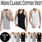 Mens Classic 100% Cotton Sleeveless Vest Pack Of 6 - White, Black & Light Grey