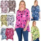 Womens Top Ladies Loose Tunic Polka Dot Print Drop Back Hem Italian Lagenlook
