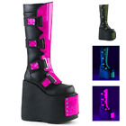 Black Platform Cyber Goth Demonia Boots Pink UV Glow in Dark Slay-310 Womans 8 9