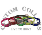 """(6)3/4"""" Ring In Center Poly Nylon Dayglo Hunting Dog Collars  Printed Nameplates"""