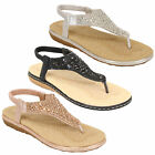Ladies Diamante Sandals Womens Slip On Toe Post Sling Back Shoes Wedding Party
