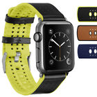 Colorblock Genuine Leather TPU Band Strap+Metal Adapter For Apple Watch 1 2 3