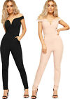 Womens Off Shoulder Bardot Jumpsuit Ladies Slim Fit Full Length Leg Pocket New