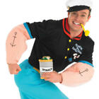 Popeye Mens Fancy Dress TV Show Cartoon Sailor Man 80s 1980s Adults Costume New