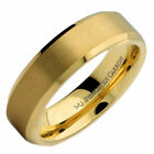 6mm or 8mm Brushed Gold Plated Tungsten Carbide Band Polished Edges Ring