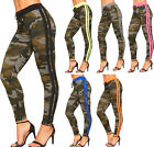 Womens High Waist Neon Camouflage Striped Stretch Jeggings Ladies Leggings Pants