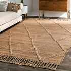 nuLOOM Handmade Woven Contemporary Modern Jute Are Rug in Natural Tan