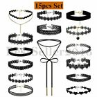 3-15pcs Set Lace Velvet Choker Bib Necklace Chain Collar Women Dress Jewelry
