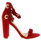 Ladies Chunky Cut Out Barely There Lace Up Ankle Toe Strap Block Heel All Sizes