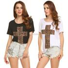 Women Casual O-Neck Short Sleeve Leopard Prints Slim Sexy T-shirt Tops DZ88