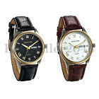 Men's Round Analog Day Date Calendar Faux Leather Band Quartz Sports Wrist Watch image