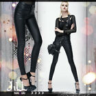 punk visual rock grunge band gansta row solid skinny faux leather pants【PT055】