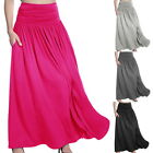 Fashion Womens High Waist Pleated A Line Long Skirt Front Slit Belted Maxi GIFT