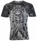 AFFLICTION Mens T Shirt TRUSTED TIME Indian GREY OIL STAIN Motorcycle Biker $58