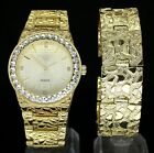 Iced Out Nugget Design Watch & Bracelet Set 14k Gold Plated HipHop Rapper Luxury image