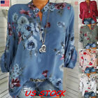 Women Long Sleeve V neck Floral Tops Blouse Casual loose Fas