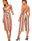 Womens Strappy Striped High Waist Wide Leg Culottes Jumpsuit Trousers Ladies New