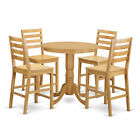 Oak Rubberwood 5-piece Counter Height Dining Table Set