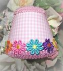 Light Pink & White Gingham Night Light With/Without Colorful Daisy Applique