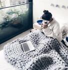 US Handmade Thick Knitted Blanket Wool Chunky Line Yarn Merino Throw Home Decor image
