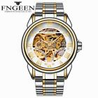 Classic FNGEEN Automatic Mechanical Men's Skeleton Wrist Watch Stainless Steel