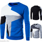 Plus size Mens Patchwork Casual Long Sleeve Pullover Sweater Sportswear Coats HX