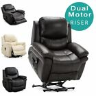 MADISON DUAL MOTOR RISE RECLINER BONDED LEATHER ARMCHAIR SOFA MOBILITY CHAIR